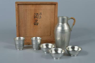 M1765: Japanese Tin SAKE CUP Sakazuki SAKE BOTTLE Tokkuri Bundle sale, auto