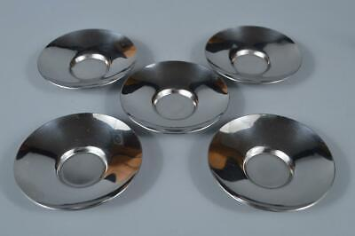 M1769: Japanese Tin TEA CUP TRAY Saucer Chataku 5pcs, Shuhodo made