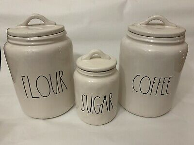 NEW Rae Dunn COFFEE, FLOUR, SUGAR Canister Set  Rare By Magenta
