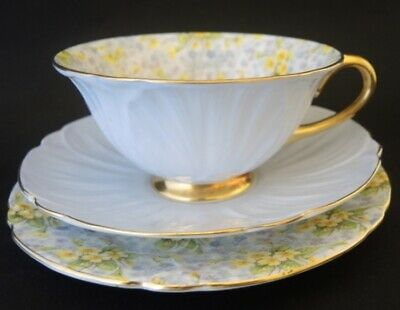 Vintage Shelley Oleander Primrose Blue Chintz Trio, cup saucer and plate.