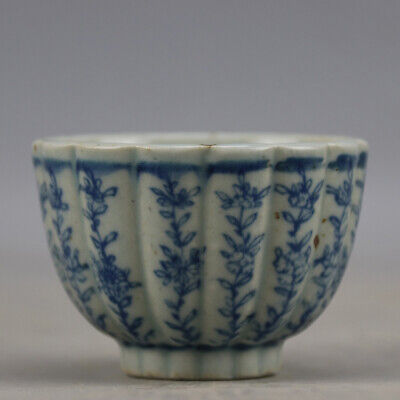 China hand-carved porcelain Blue and white flower pattern Kung fu tea cup b01