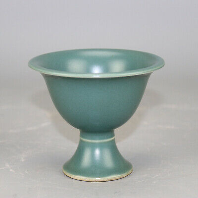China old hand-carved porcelain bean green glaze goblet / Jiaqing mark b02