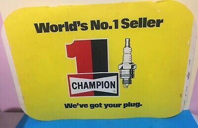 A Champion Spark Plug Counter Sign