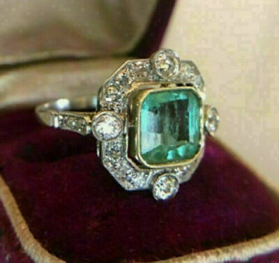 Vintage Art Deco Engagement Ring 2.0Ct Green Asscher Diamond 14K White Gold Over