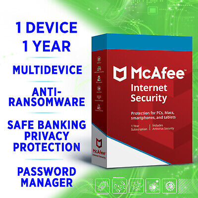 McAfee Internet Security 1 device 1 year MULTIDEVICE 2020 full edition