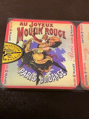 French Chat Noir Drouot Black Cat Paris 6 French Coasters Drinks Holder Mat Gift