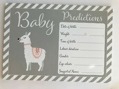 Baby shower prediction cards wishes advice