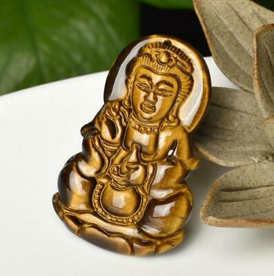 100% Natural A krocodylite jade Chinese hand-carved Guanyin pendant /Va02