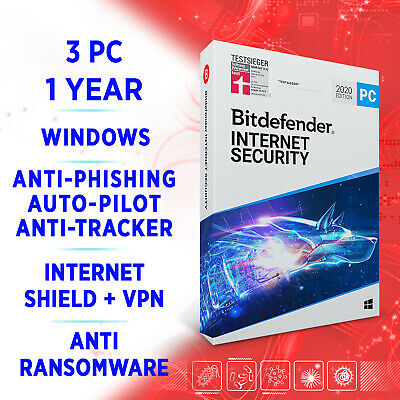 Bitdefender Internet Security 2020 3 PC 1 year, Activation Key FULL EDITION +VPN