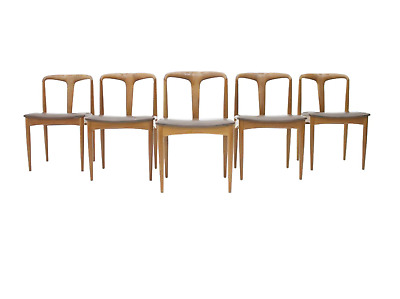 Set of 5 Teak & Leather Dining Chairs Juliane by Johannes Andersen Chairs 60er