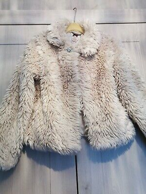 Girls Cream Faux Fur Coat Age 9-10 years Autograph By Marks And Spencer