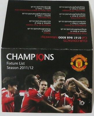 2011-2012 Manchester United: Official Fixture List pull-out Card Man Utd