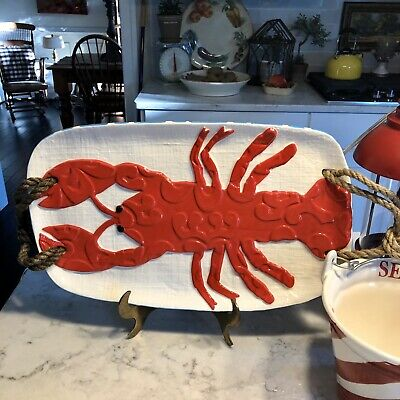 Mud Pie Lobster Ceramic Platter Serving Tray Oval Knotted Jute Handles