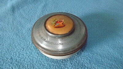 Vintage Colonial Couple Decorative Vanity Tin Round Container ~ Trinket Box