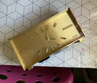 ❤️Rare Vintage 60s 70s Acctim Quartz Gold Heavy Fire Place Clock Time Piece Prop