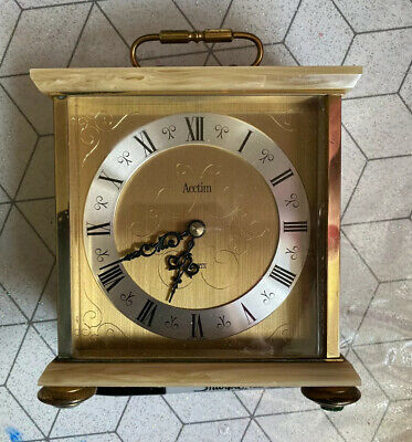 ❤️Rare Vintage Acctim Quartz Marble Gold Heavy Mantle Carriage Clock Time Pierce