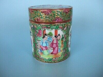 A Chinese Canton Cylindrical Box & Cover. c.1880.