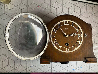 ❤️ Rare Vintage SMITHS ENFIELD Wooden Mantle Piece Carriage Clock Glass Domed ❤️