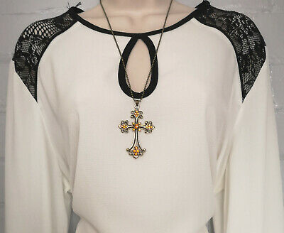 "Beautiful 24"" long Antique bronze metal chain & diamante cross pendant necklace"