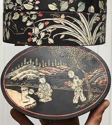 Antique Chinese Lacquered Hand Carved Painted Papier Mache Oval Box & Lid