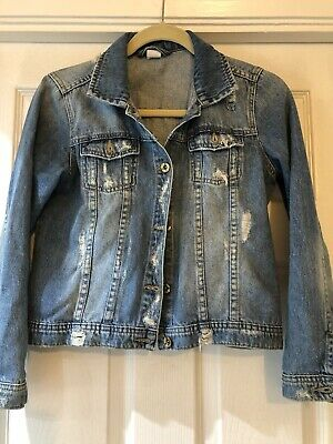 Fab Girls Next Distressed Blue Denim Jacket Age 13 Years Excellent Condition