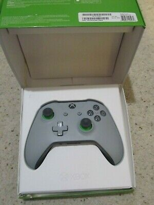 Official Microsoft Xbox One S 1708 Grey & Green Wireless Controller, Boxed