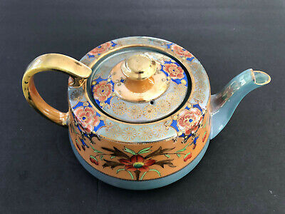Takito TT Japan Handpainted Teal Blue, Orange / Peach Luster, Gold Floral TEAPOT