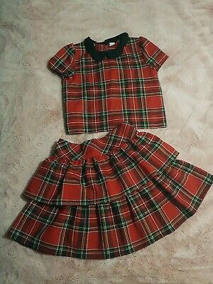 Girls Age 9 134 cm Christmas Tartan matching set outfit Top Tutu/Rara Skirt Tu
