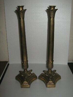 Pair Of Large  Antique French Very Heavy Brass Candle Sticks
