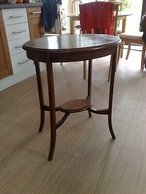 Antique Victorian small oval  table with inlay