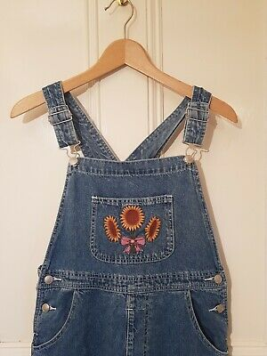 True Vintage D'MODE GIRLS Blue Dungarees With Sunflower Pocket Embroidery XS