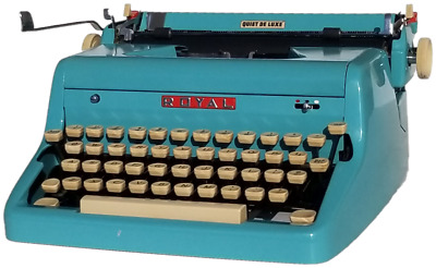 Turquoise Blue 1957 Royal Quiet Deluxe Portable Typewriter with Original Case