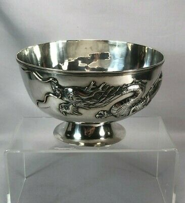 Antique Chinese Fine Sterling Silver Bowl w Applied Dragon Signed Sing Fat 405g