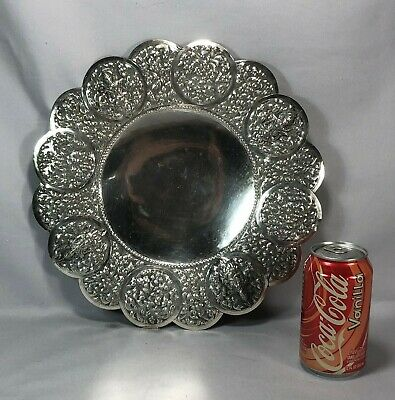 """Large 12"""" Antique Chinese Silver Platter Plate Repousse Buddhas Signed 623 Grams"""