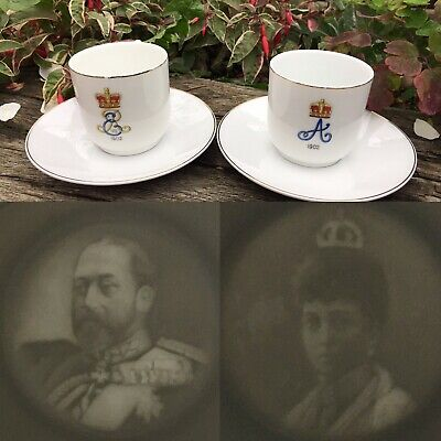 A Pair Very Rare Antique 1902 King Edward VII Queen Alexandra Coronation Tea Cup