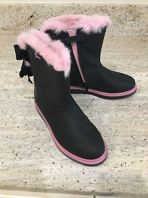Brand New Girls Geox Black Boots With Pink Fur Lining - Size 34/size 2 Uk