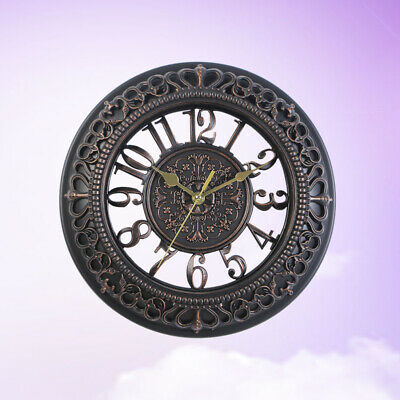 1pc Vintage Dial Silent Round European Wall Clock for Bedroom Office Living Room