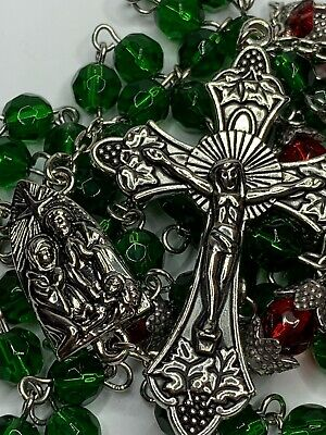 """† Christmas Vintage Silver Tone Double Cap Red Pater & Green Glass Rosary 28"""" †"""