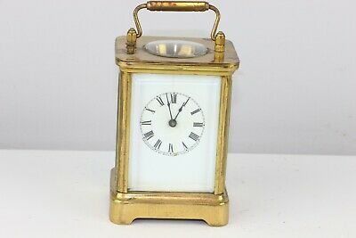 Antique Waterbury Clock Co Brass Carriage Repeater Striking Clock - Excellent