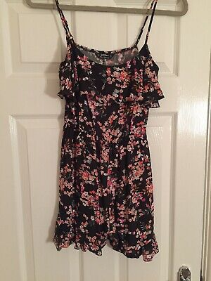 Miss Selfridge Black And Floral Shorts / Strappy Playsuit - Size 8 Petite