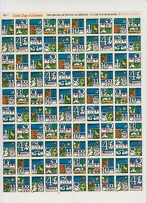 1973 complete sheet of Christmas seals 12 days of xmas