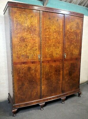 Good Quality Burr Walnut Triple Door Wardrobe Circa 1920