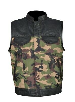 Son Of Anarchy Camouflage Camo Genuine Leather Motorcycle Biker Waistcoat/Vest