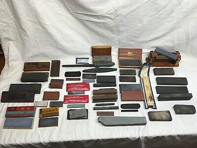 Vintage Sharpening Stones Large Lot of 40 Stones Various Sizes and Types Look !
