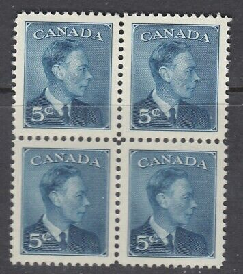 """Canada MINT NH BLOCK Scott #293  5 cent deep blue """"KGVI Postage Omitted""""  VF"""