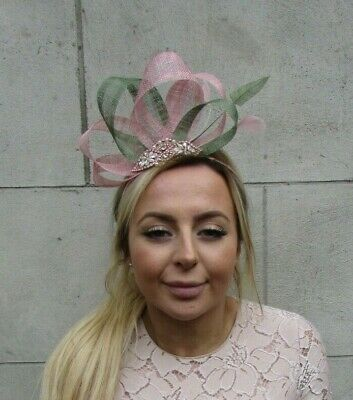 Rose Gold Dusky Blush Pink Sage Khaki Moss Green Fascinator Feather Sinamay 7891