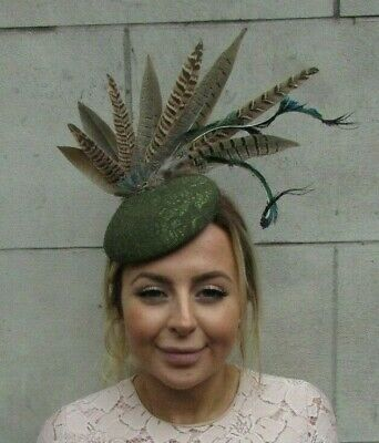 Moss Olive Green Brown Peacock & Pheasant Feather Pillbox Hat Fascinator 7892