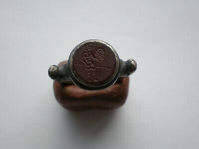 Ancient Roman Natural Gemstone Gladiator Legionary Silver Ring