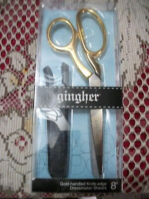 """Gingher Quality 8""""  Gold Handle Knife Edge Dressmaker Shears  Fast Free Post"""