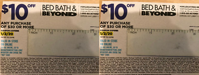 2 Bed Bath & Beyond Coupon: $10 Off $30 or More In Store or Online, Exp 1/2/2020